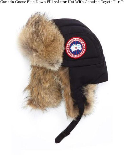 Canada Goose Blue Down Fill Aviator Hat With Genuine Coyote Fur Trim